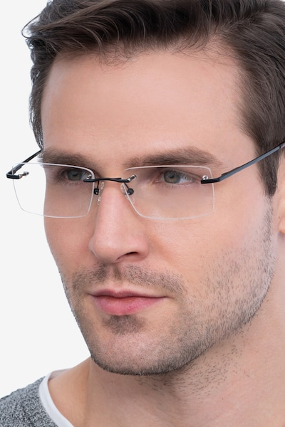 Enterprise Black Metal Eyeglass Frames for Men from EyeBuyDirect