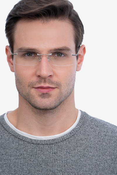 Enterprise Silver Metal Eyeglass Frames for Men from EyeBuyDirect, Front View