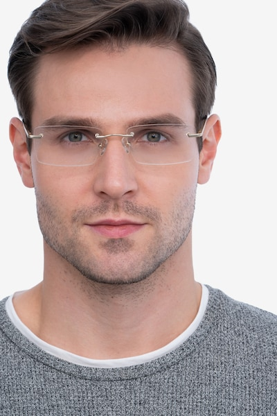 Enterprise Gold Metal Eyeglass Frames for Men from EyeBuyDirect, Front View