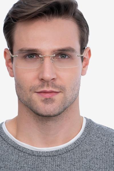 Enterprise Doré Métal Montures de Lunettes pour Hommes d'EyeBuyDirect, Vue de Face