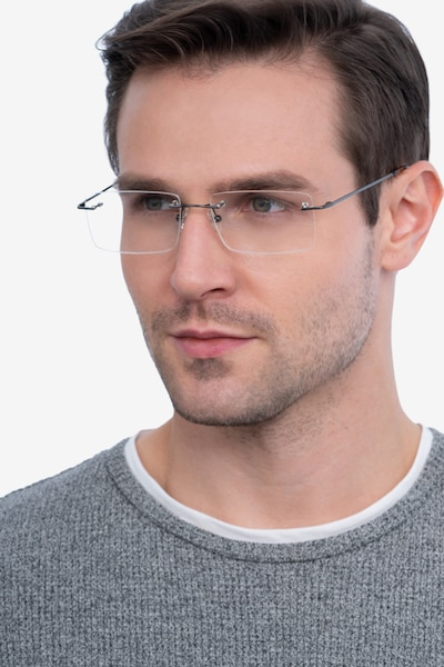 Evolve Gunmetal Metal Eyeglass Frames for Men from EyeBuyDirect, Front View