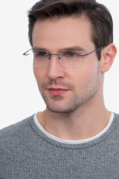 Forge Navy Metal Eyeglass Frames for Men from EyeBuyDirect, Front View