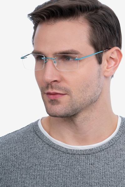 Bold Blue Metal Eyeglass Frames for Men from EyeBuyDirect, Front View