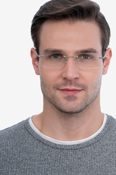 Bold Silver Metal Eyeglass Frames for Men from EyeBuyDirect, Front View