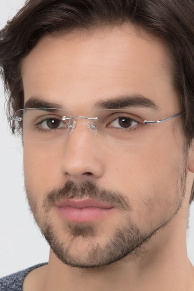 Ebb Silver Titanium Eyeglass Frames for Men from EyeBuyDirect