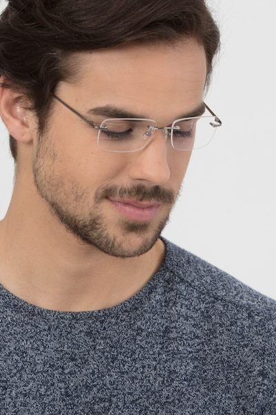 Lupin Silver Titanium Eyeglass Frames for Men from EyeBuyDirect, Front View