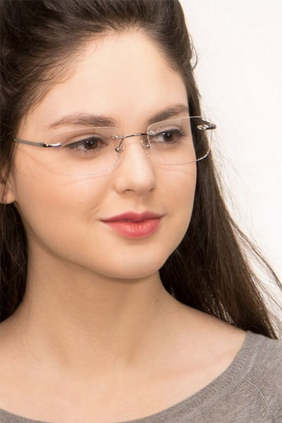 Lupin Silver Titanium Eyeglass Frames for Women from EyeBuyDirect, Front View