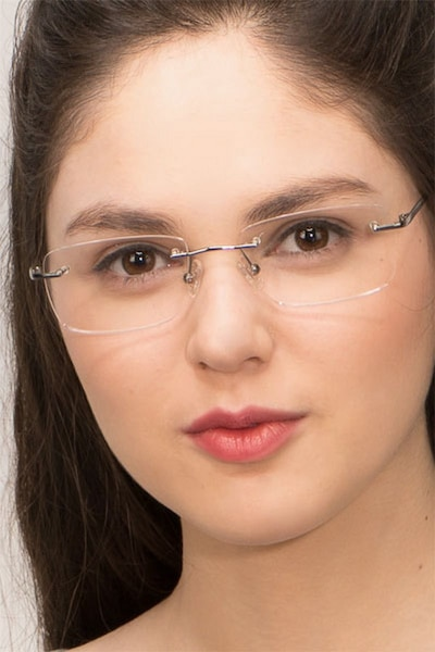 Lupin Silver Titanium Eyeglass Frames for Women from EyeBuyDirect