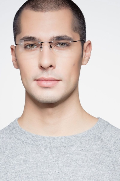 Giroux Black Titanium Eyeglass Frames for Men from EyeBuyDirect, Front View