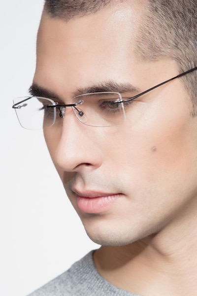 Giroux Black Titanium Eyeglass Frames for Men from EyeBuyDirect