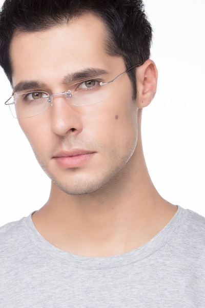 Giroux Silver Titanium Eyeglass Frames for Men from EyeBuyDirect, Front View