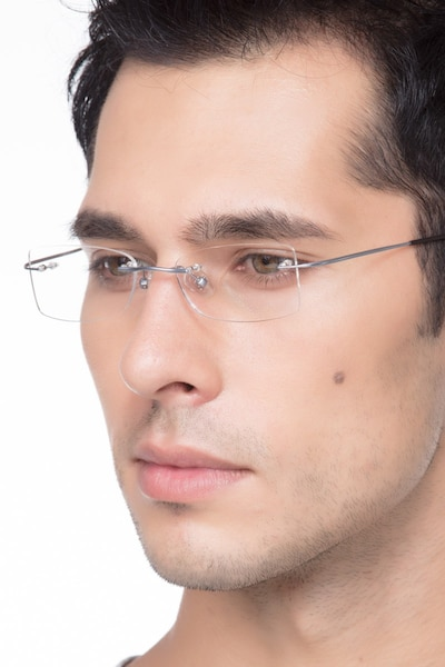 Giroux Silver Titanium Eyeglass Frames for Men from EyeBuyDirect
