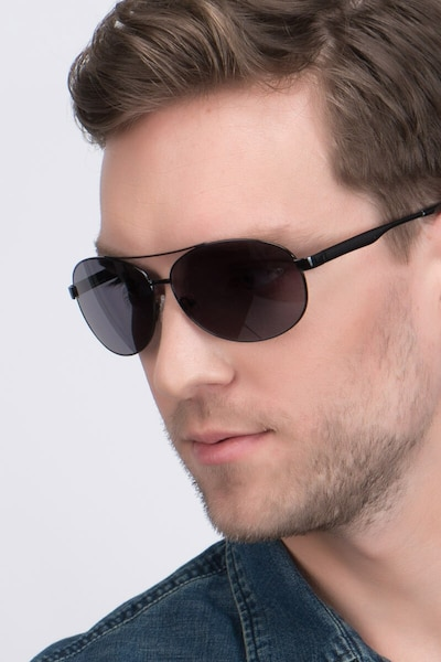 Santorini Black Metal Sunglass Frames for Men from EyeBuyDirect