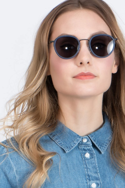 Siena Matte Navy Acetate Sunglass Frames for Women from EyeBuyDirect, Front View