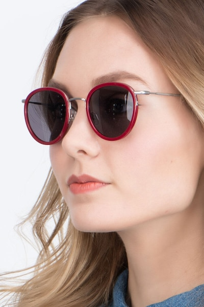 Siena Red Acetate Sunglass Frames for Women from EyeBuyDirect