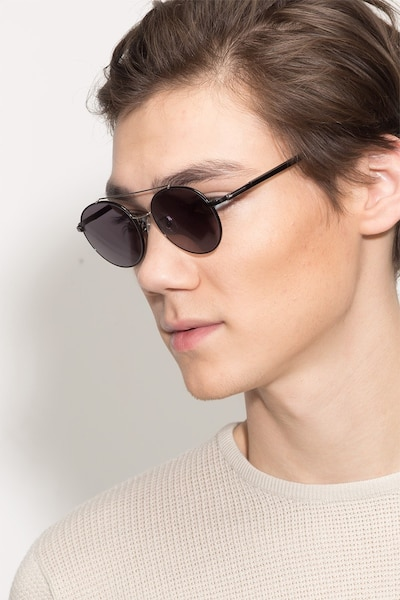 Hendrix Black/Silver Metal Sunglass Frames for Men from EyeBuyDirect
