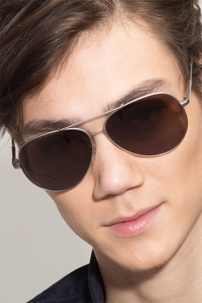 Camp  Matte Silver  Metal Sunglass Frames for Men from EyeBuyDirect