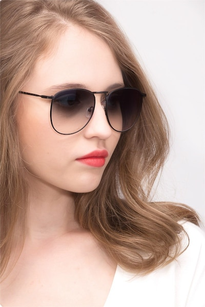 Fume Black Metal Sunglass Frames for Women from EyeBuyDirect, Front View