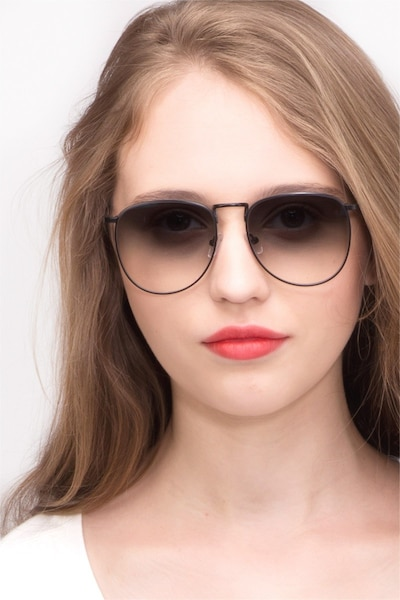 Fume Black Metal Sunglass Frames for Women from EyeBuyDirect