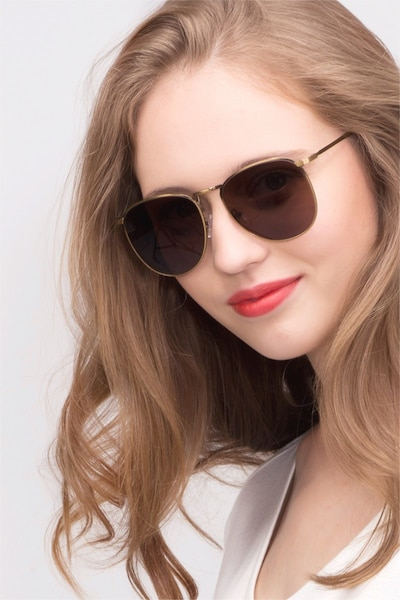 Fume Bronze Metal Sunglass Frames for Women from EyeBuyDirect, Front View