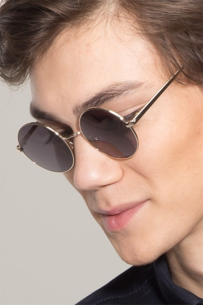 Guru  Light Golden  Metal Sunglass Frames for Men from EyeBuyDirect