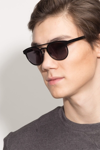 Playground Black Metal Sunglass Frames for Men from EyeBuyDirect, Front View