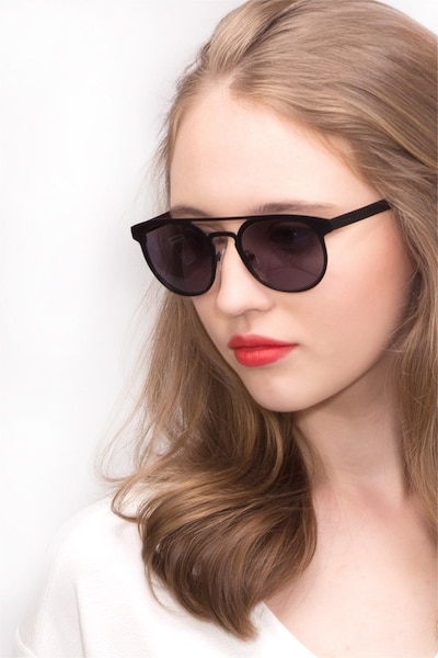 Playground Black Metal Sunglass Frames for Women from EyeBuyDirect, Front View