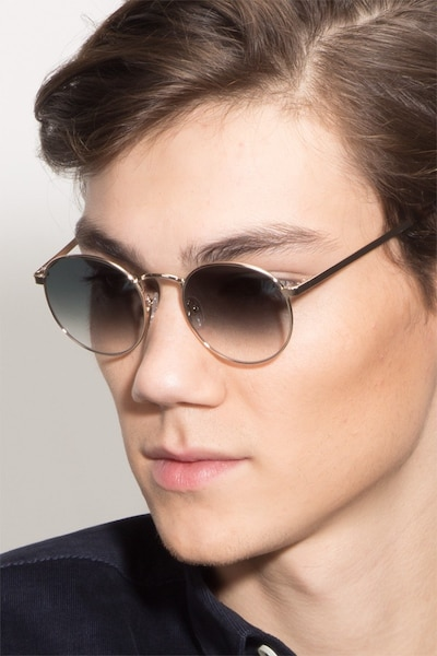 Rex Golden Metal Sunglass Frames for Men from EyeBuyDirect