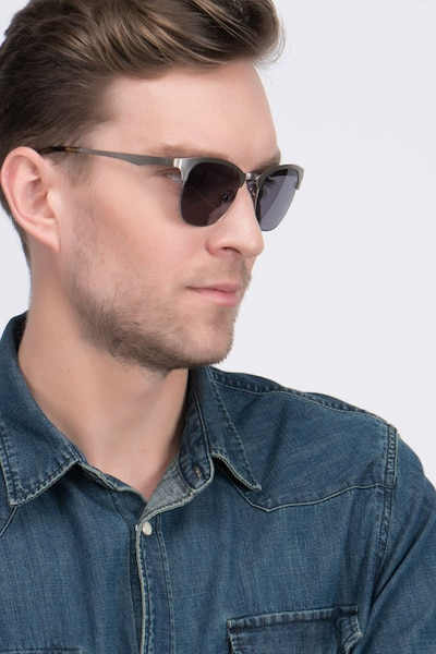 Veil Gunmetal Metal Sunglass Frames for Men from EyeBuyDirect, Front View