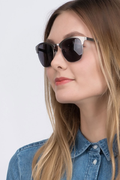Veil Gunmetal Metal Sunglass Frames for Women from EyeBuyDirect, Front View