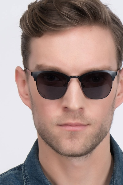 Veil Black Metal Sunglass Frames for Men from EyeBuyDirect