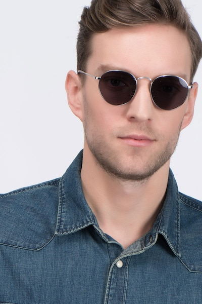 Disclosure Silver Metal Sunglass Frames for Men from EyeBuyDirect, Front View