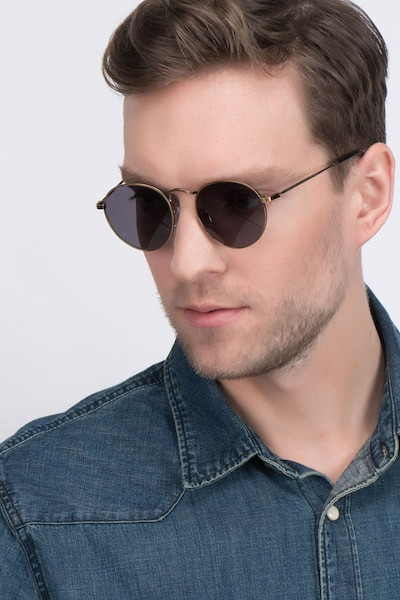 Disclosure Brown Metal Sunglass Frames for Men from EyeBuyDirect, Front View