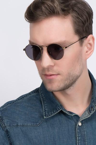 Disclosure Marron Métal Soleil de Lunettes pour Hommes d'EyeBuyDirect, Vue de Face