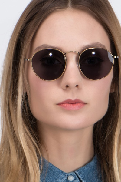 Disclosure Brown Metal Sunglass Frames for Women from EyeBuyDirect