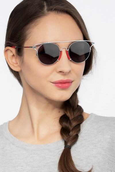 Blockpop Silver Red Acetate Sunglass Frames for Women from EyeBuyDirect, Front View