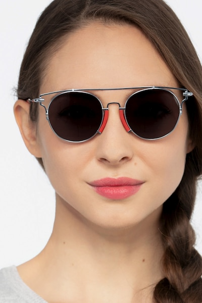 Blockpop Silver Red Acetate Sunglass Frames for Women from EyeBuyDirect