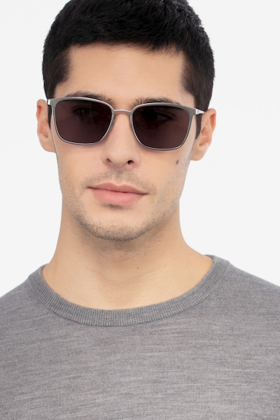 Jolt Silver Metal Sunglass Frames for Men from EyeBuyDirect, Front View