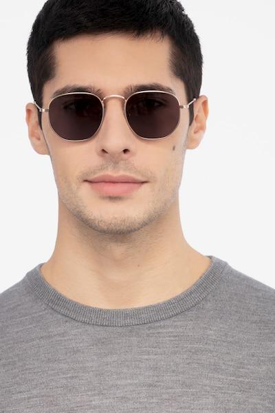 Boardwalk Golden Métal Soleil de Lunettes pour Hommes d'EyeBuyDirect, Vue de Face