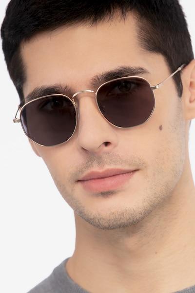 Boardwalk Golden Métal Soleil de Lunette de vue pour Hommes d'EyeBuyDirect