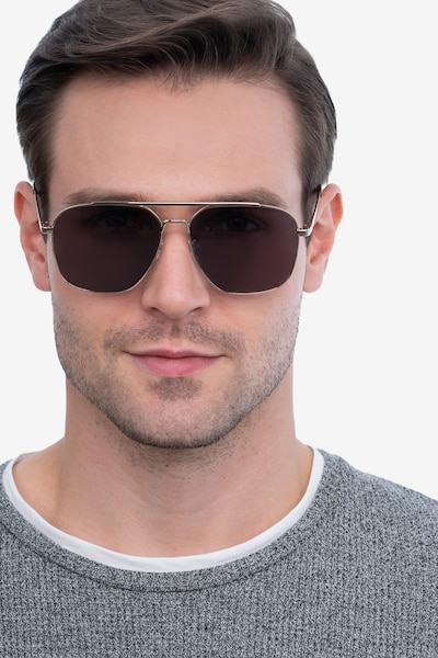 Route 66 Golden Metal Sunglass Frames for Men from EyeBuyDirect, Front View