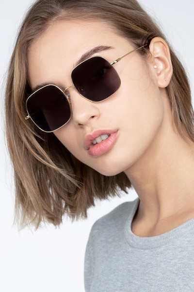 Sun Movement Golden Metal Sunglass Frames for Women from EyeBuyDirect