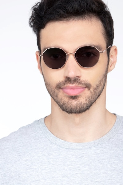 Village Rose Gold Metal Sunglass Frames for Men from EyeBuyDirect, Front View