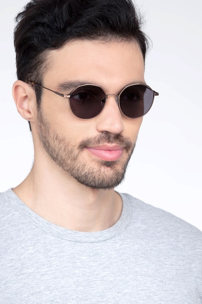 Village Bronze Metal Sunglass Frames for Men from EyeBuyDirect, Front View