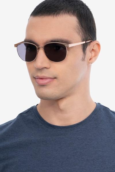 Maui Rose Gold Métal Soleil de Lunettes pour Hommes d'EyeBuyDirect, Vue de Face