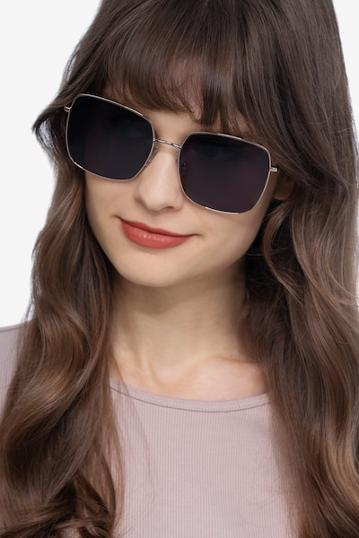 Bora Bora Golden Metal Sunglass Frames for Women from EyeBuyDirect, Front View
