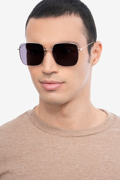Voyager Golden Metal Sunglass Frames for Men from EyeBuyDirect, Front View