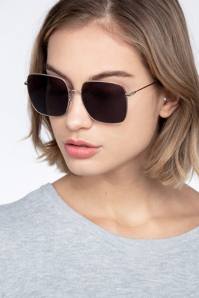 Voyager Golden Metal Sunglass Frames for Women from EyeBuyDirect, Front View