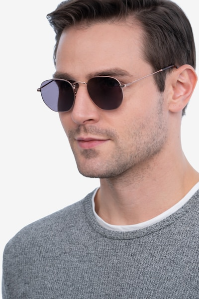 Boardwalk Rose Gold Metal Sunglass Frames for Men from EyeBuyDirect, Front View