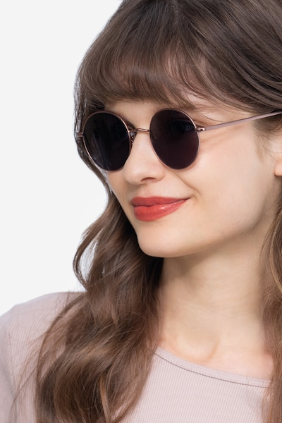 Sun Synapse Rose Gold Metal Sunglass Frames for Women from EyeBuyDirect, Front View